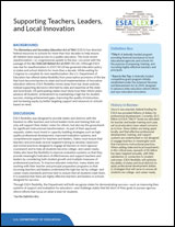 Supporting Teachers, Leaders and Local Innovation